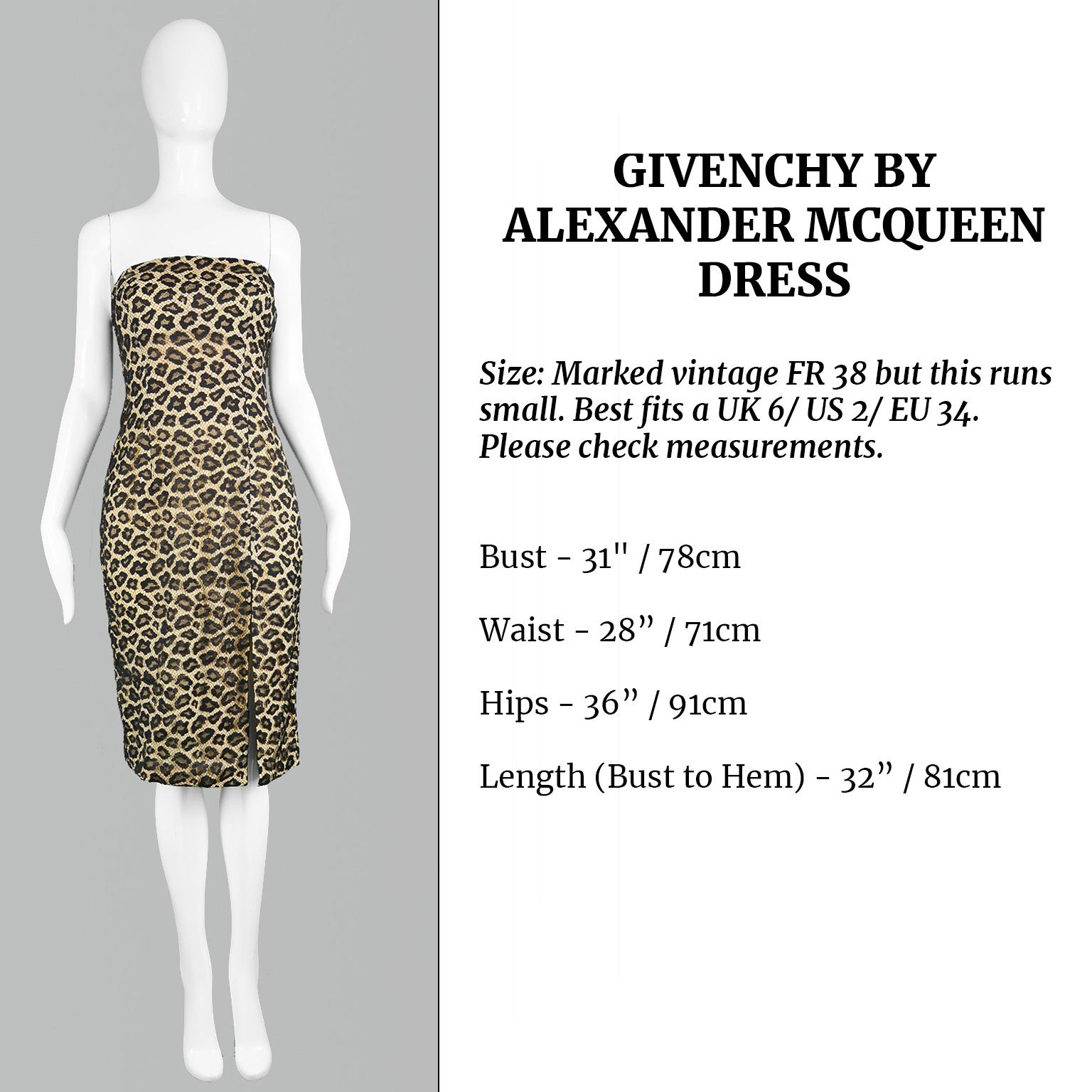 db65a68986 Givenchy Couture by Alexander McQueen Fall 1997 Strapless Leopard Lace  Dress For Sale at 1stdibs