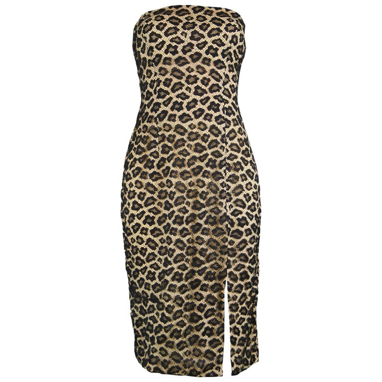 2d5e3c709d Givenchy Couture by Alexander McQueen Fall 1997 Strapless Leopard Lace  Dress For Sale