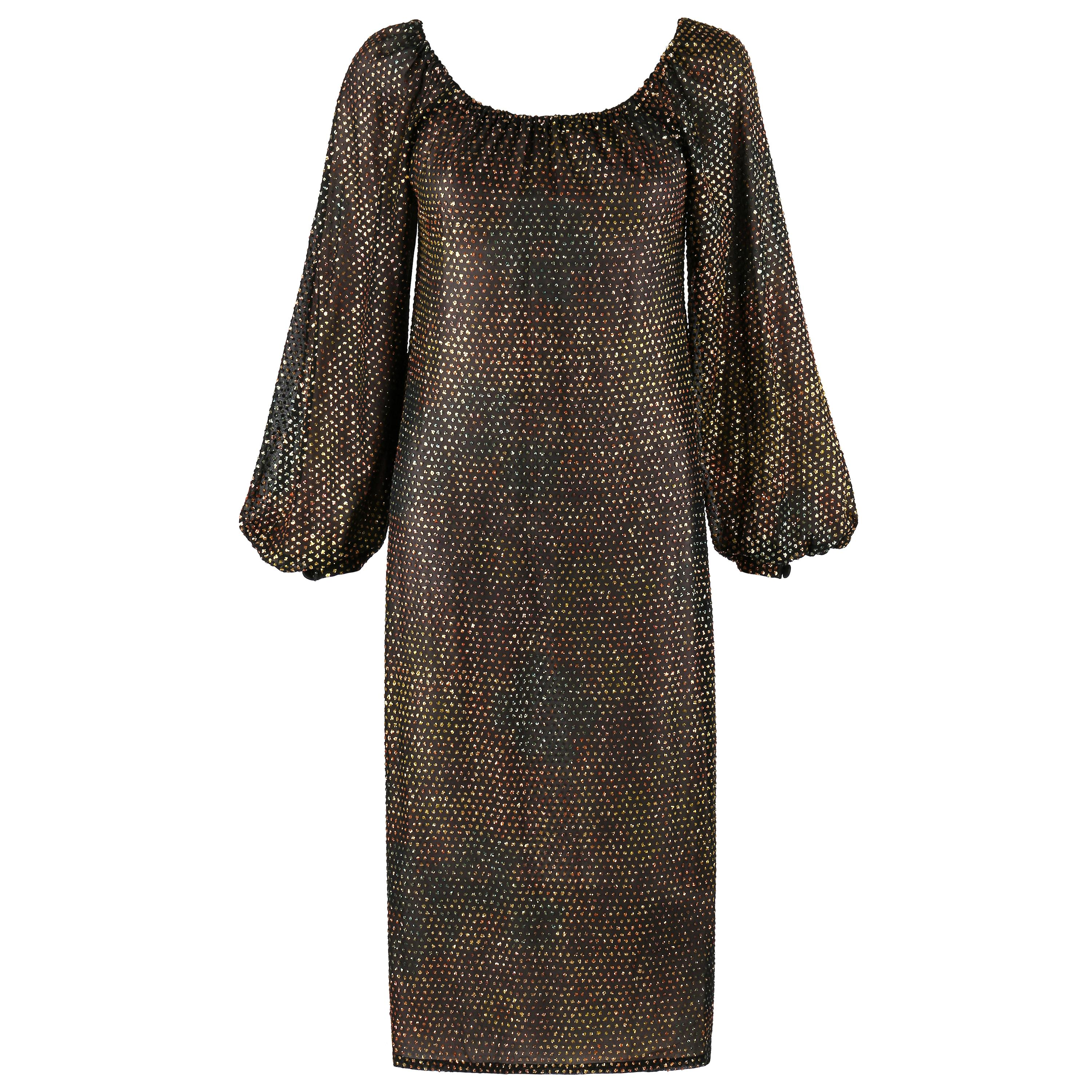 GIVENCHY HAUTE COUTURE c.1970s Black Gold-Rainbow Bishop Sleeve Shift Dress