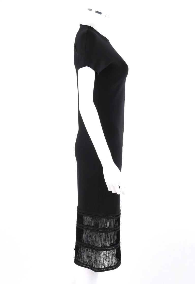 GIVENCHY COUTURE c.1990's ALEXANDER McQUEEN Black Tiered Sheath Fringe Dress In Good Condition For Sale In Thiensville, WI