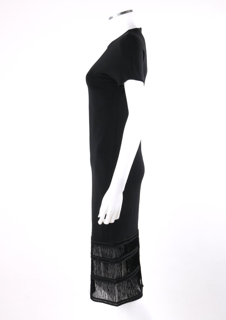 Women's GIVENCHY COUTURE c.1990's ALEXANDER McQUEEN Black Tiered Sheath Fringe Dress For Sale