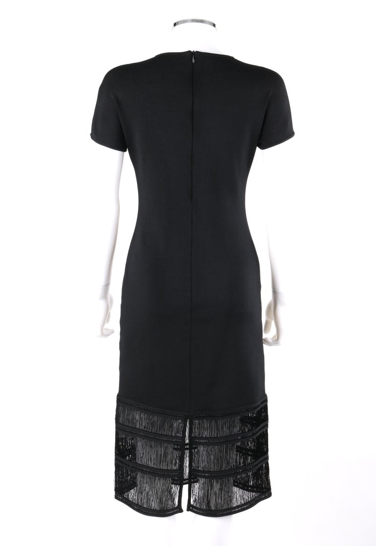 GIVENCHY COUTURE c.1990's ALEXANDER McQUEEN Black Tiered Sheath Fringe Dress For Sale 1