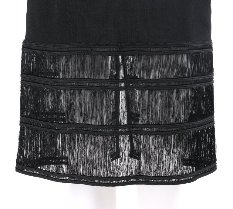 GIVENCHY COUTURE c.1990's ALEXANDER McQUEEN Black Tiered Sheath Fringe Dress For Sale 2