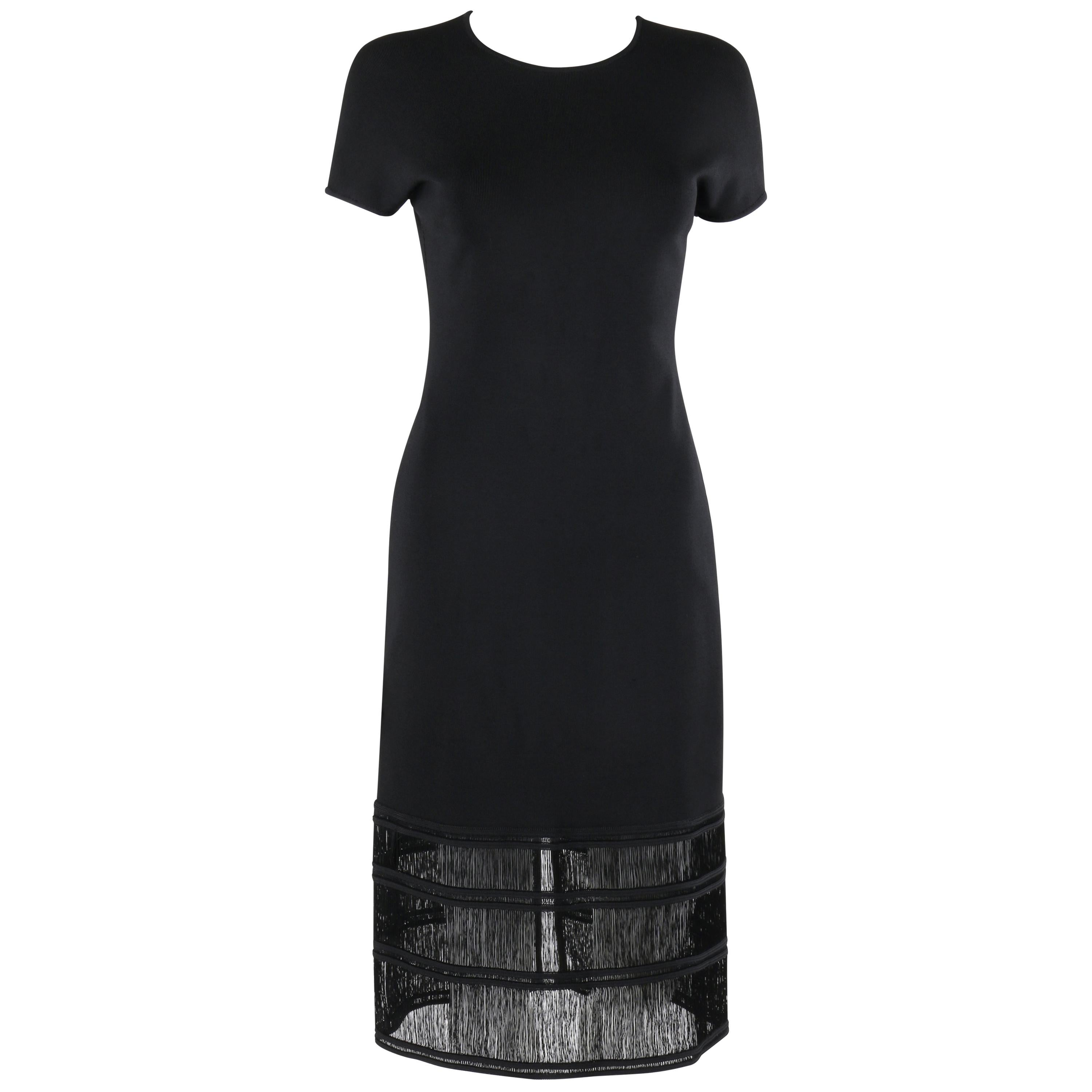 GIVENCHY COUTURE c.1990's ALEXANDER McQUEEN Black Tiered Sheath Fringe Dress