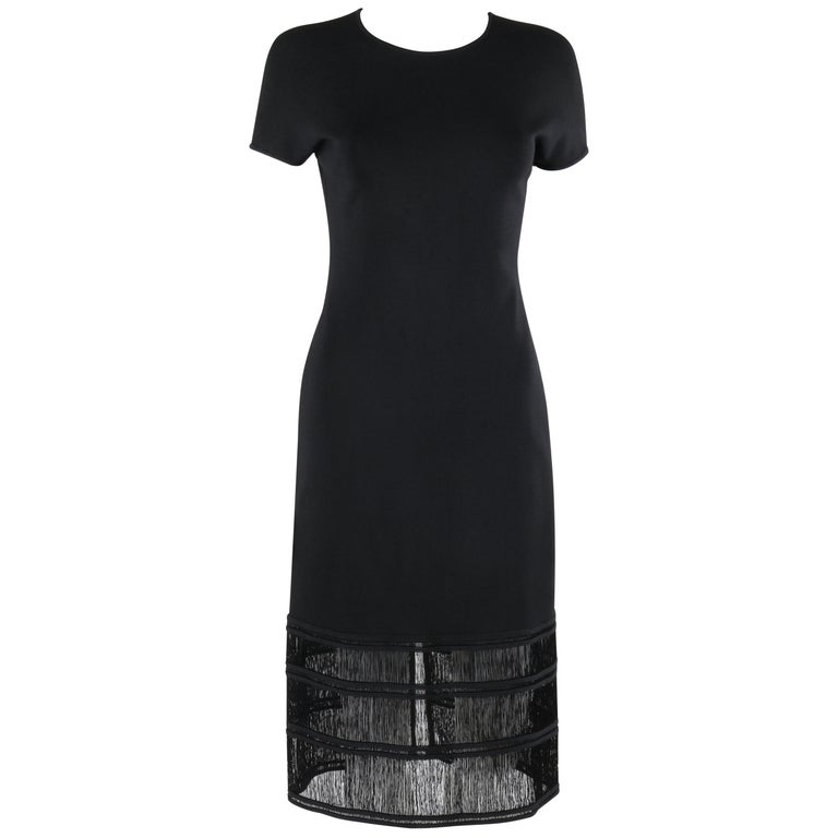 GIVENCHY COUTURE c.1990's ALEXANDER McQUEEN Black Tiered Sheath Fringe Dress For Sale
