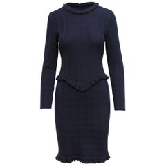 Givenchy Couture Navy Blue Long-Sleeve Knit Dress