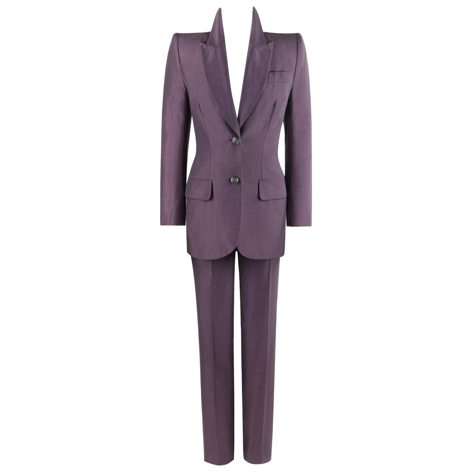 GIVENCHY Couture S/S 1999 ALEXANDER McQUEEN Purple Blazer Jacket Pant Suit Set