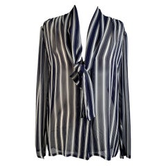 Givenchy Couture Vintage Striped Silk Button Down Shirt