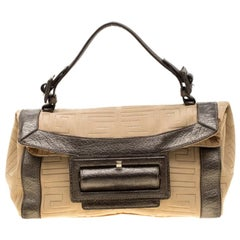 Givenchy Cream and Metallic Brown Canvas And Leather Satchel