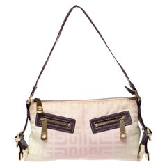 Givenchy Cream/Light Pink Logo Print Canvas Double Pocket Zip Baguette