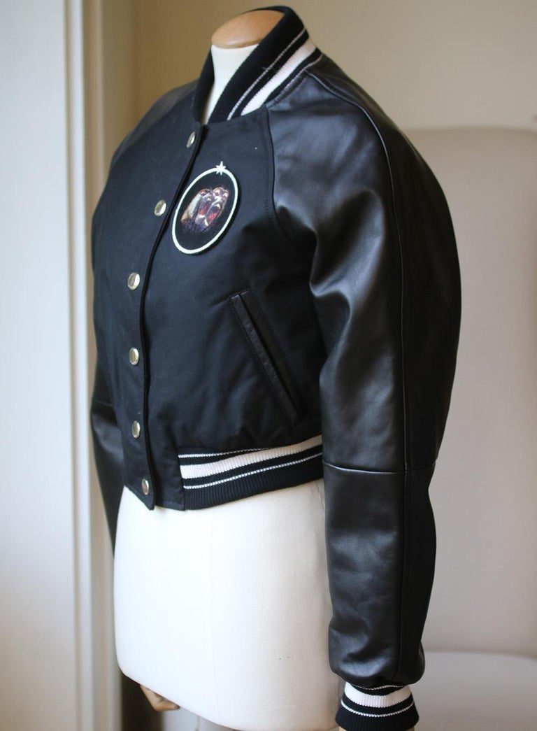 Black Givenchy Cropped Bomber Jacket  For Sale