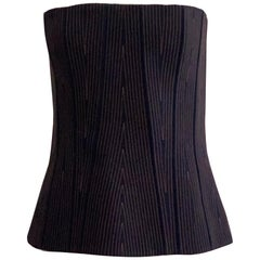 Givenchy Dark Denim Bustier Corset Strapless Top Stitch and Zipper Detail