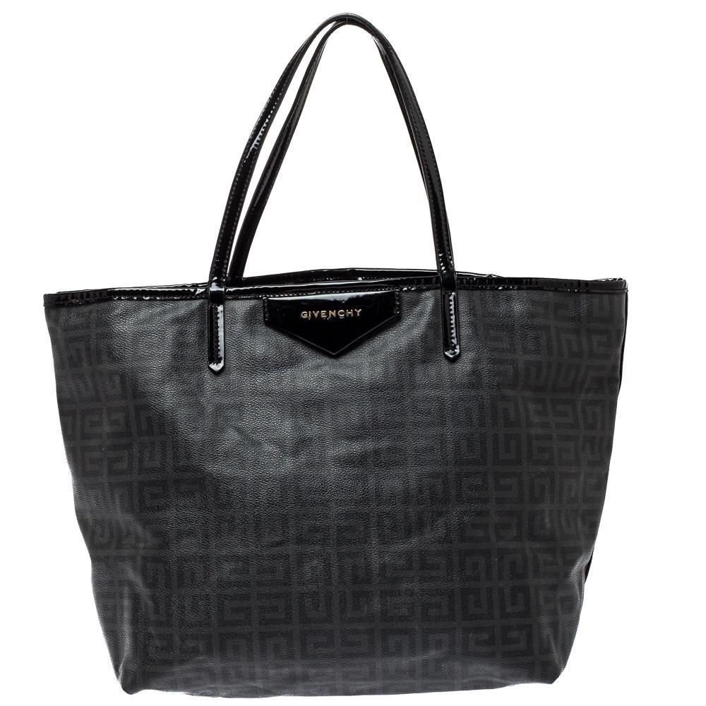 Givenchy Dark Grey/Black Coated Canvas Logo Print Antigona Shopper Tote
