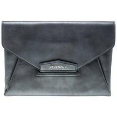 Givenchy Dark Grey Leather Medium Envelope Antigona Clutch