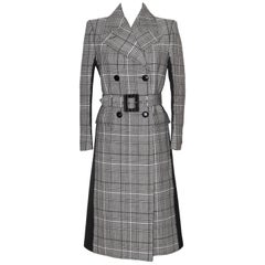 Givenchy Double-Breasted Black and White Prince of Wales Wool Coat