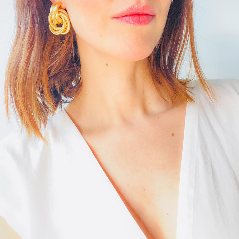 Givenchy Vintage 1980s Clip On Earrings  Fantastic statement earrings with classic 80s styling from the iconic house of Givenchy   Detail -Made in the USA in the 1980s -Cast from high quality gold plated metal -Twisted cable design  Size &