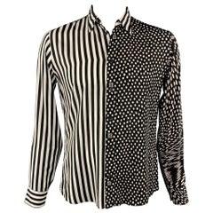 GIVENCHY F/W 19 Size M Black & White Mixed Print Viscose Long Sleeve Shirt