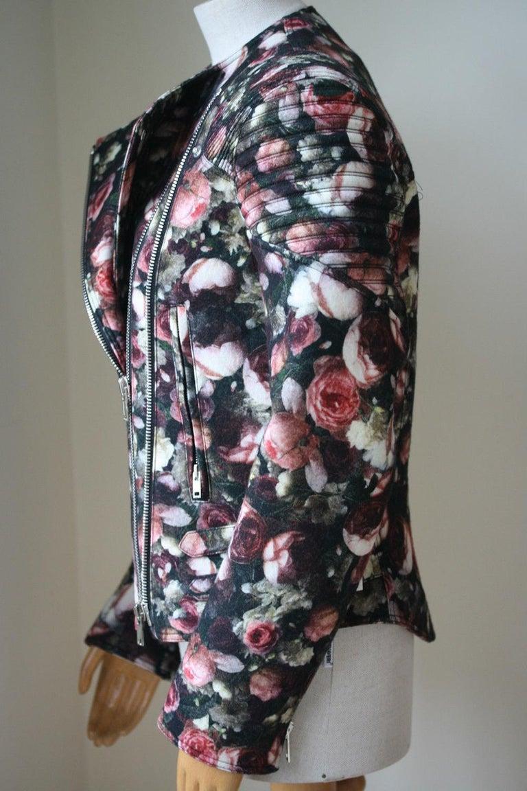 Black Givenchy Floral Felt-Wool Bomber Jacket  For Sale