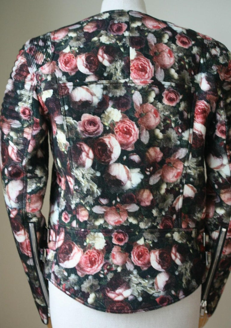 Givenchy Floral Felt-Wool Bomber Jacket  In Excellent Condition For Sale In London, GB