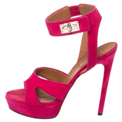 Givenchy Fuchsia Suede Shark Tooth Ankle Strap Platform Sandals Size 39