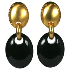 Givenchy Gilt and Black Modernist Earclips