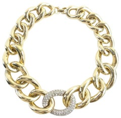 Givenchy Gold Jumbo Chain Crystal 36mr0702 Necklace