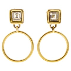 Givenchy Gold Plated and Clear Rhinestone Hoop Clip on Earrings circa 1980s