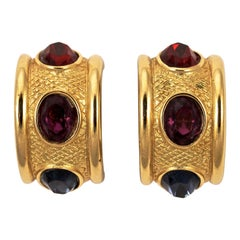 Givenchy Gold Plated Blue Purple Red Rhinestone Half Hoop Clip on Earrings