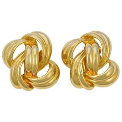Givenchy Gold Tone Abstract Double Swirl Design Clip On Earrings