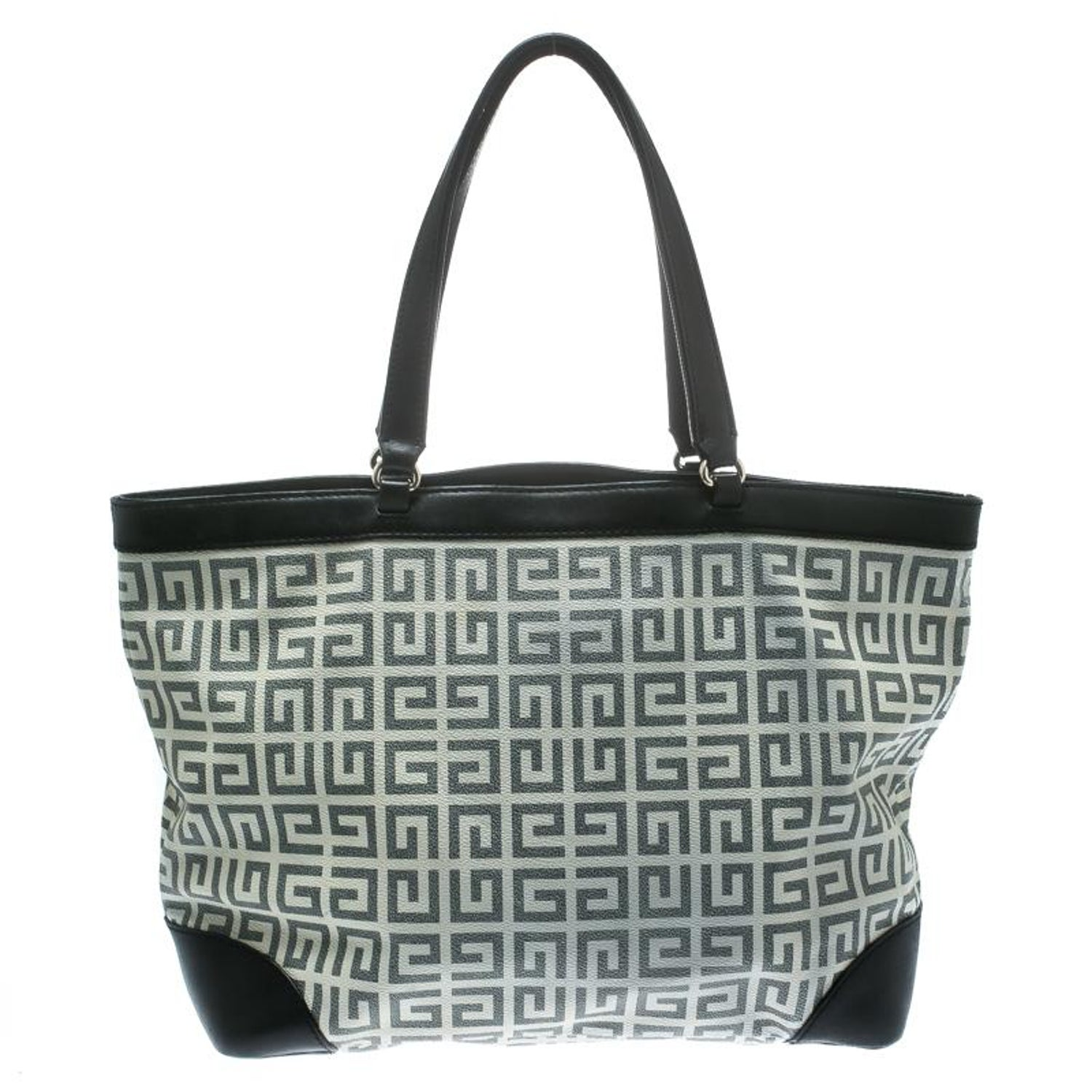78527c2eb Givenchy Grey/Black Coated Canvas and Leather Shopper Tote For Sale at  1stdibs