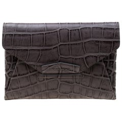 Givenchy Grey Croc Embossed Leather Antigona Envelope Clutch
