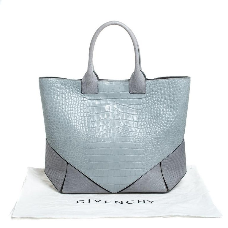 Givenchy Grey Croc Embossed Leather Easy Tote 6