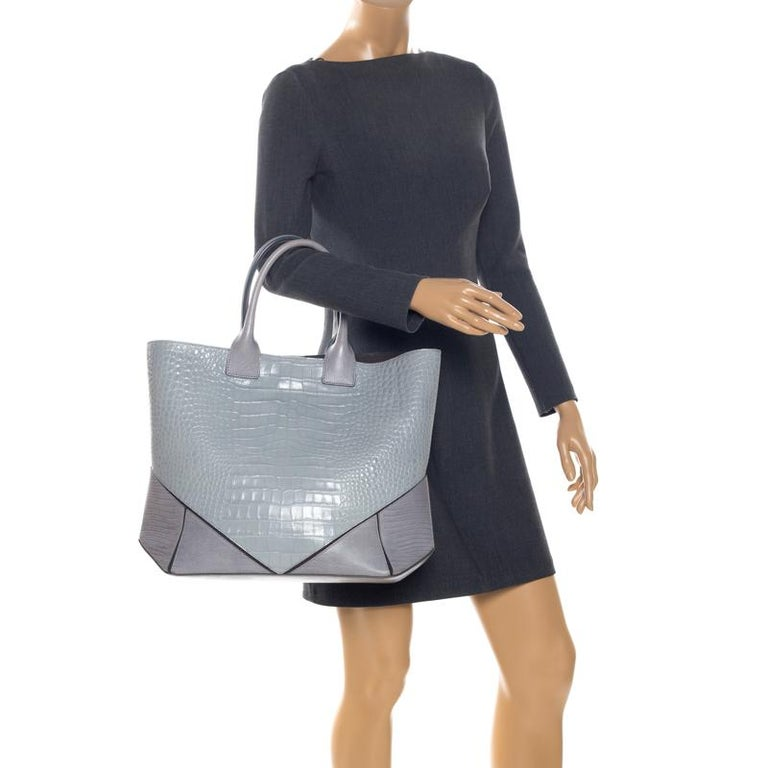 Gray Givenchy Grey Croc Embossed Leather Easy Tote