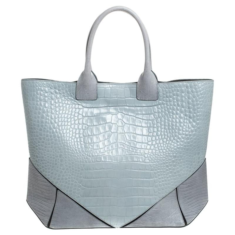 Givenchy Grey Croc Embossed Leather Easy Tote