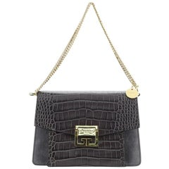 Givenchy GV3 Flap Bag Crocodile Embossed Leather Small