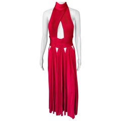 Givenchy Halter Plunging Neckline Cutout Backless Red Evening Dress Gown