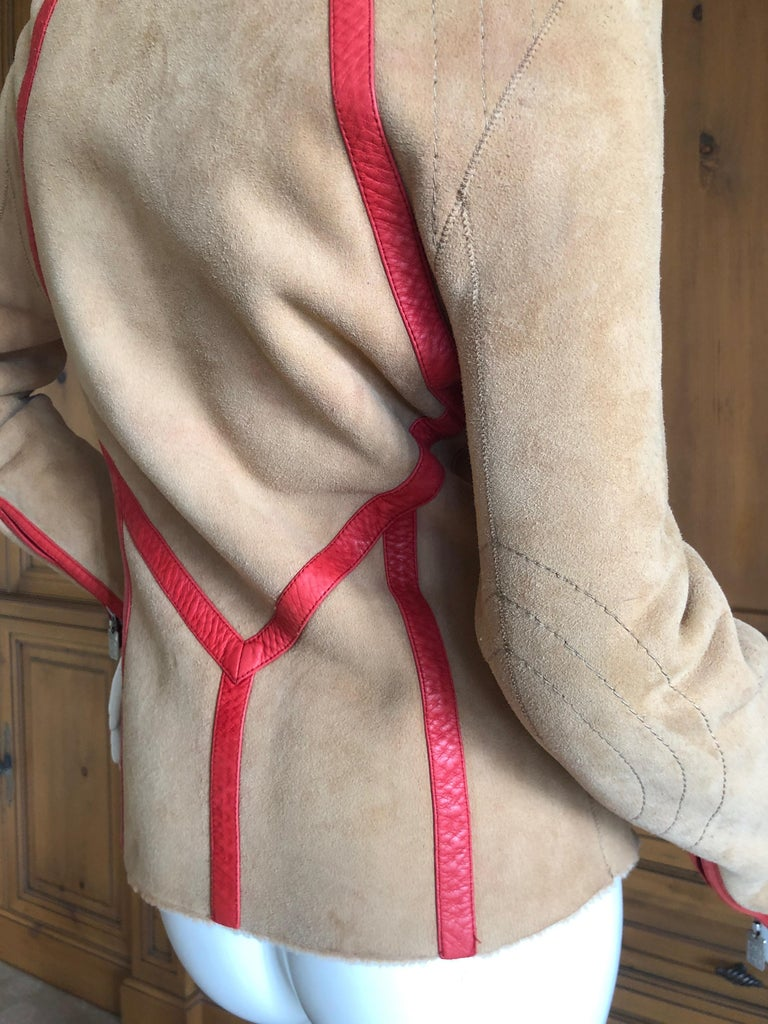 Givenchy Haute Couture A/W 1998 by Alexander McQueen Red Trim Shearling Jacket For Sale 5