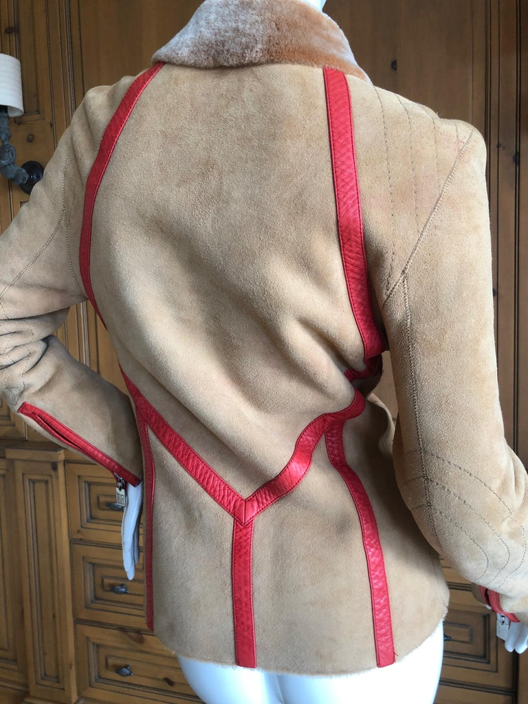 Givenchy Haute Couture A/W 1998 by Alexander McQueen Red Trim Shearling Jacket For Sale 6