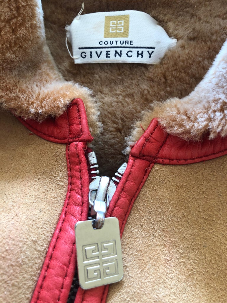 Givenchy Haute Couture A/W 1998 by Alexander McQueen Red Trim Shearling Jacket. So elegant, early Alexander McQueen exhibits details he would revisit in his own future collections. Haute couture, so no size tag Bust 36