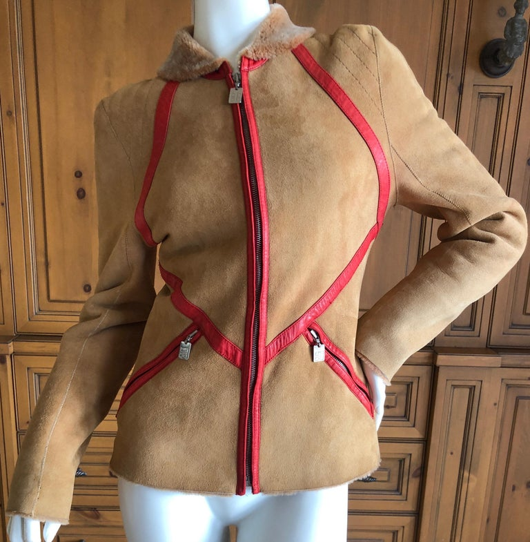 Givenchy Haute Couture A/W 1998 by Alexander McQueen Red Trim Shearling Jacket In Excellent Condition For Sale In San Francisco, CA