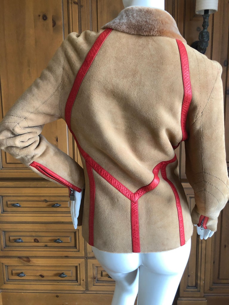 Givenchy Haute Couture A/W 1998 by Alexander McQueen Red Trim Shearling Jacket For Sale 3