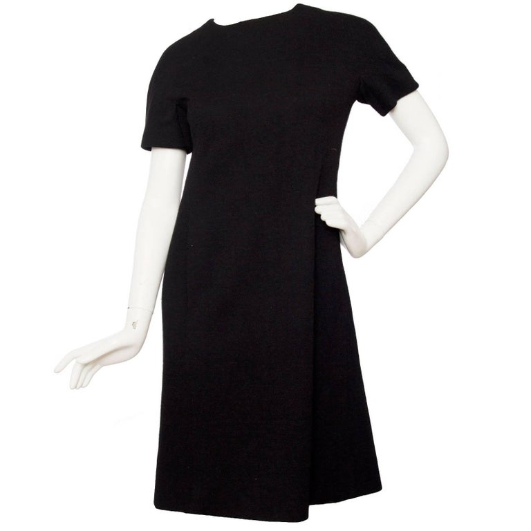 Givenchy Haute Couture Little Black Wool Dress, 1960s