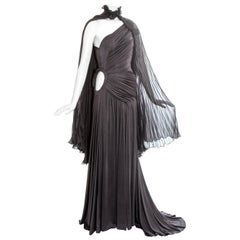 Givenchy Haute Couture grey silk trained evening dress and cape, fw 2003