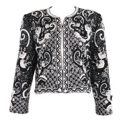 Givenchy Haute Couture Silk Black & WhiteBeaded & Embroidered Jacket No.69025