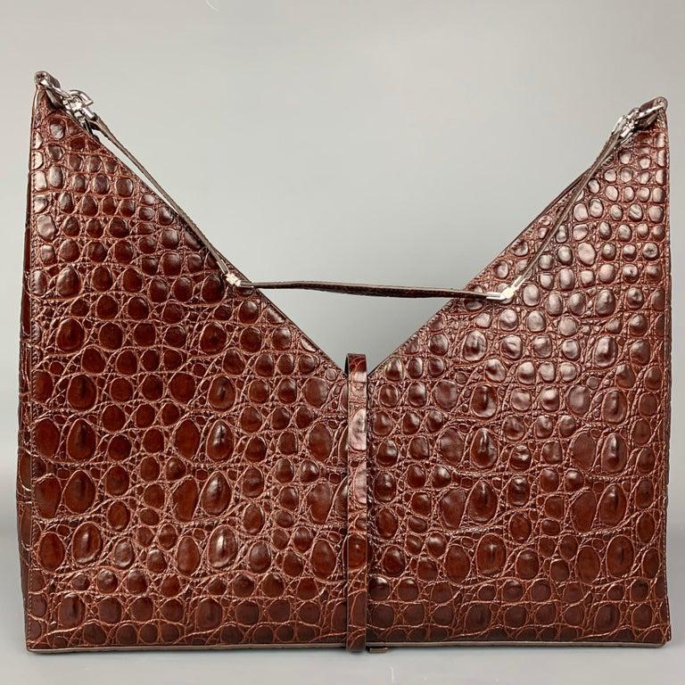 Women's or Men's GIVENCHY Large Cut Out Bag Brown Embossed Croc Leather Shoulder Unisex Handbag For Sale