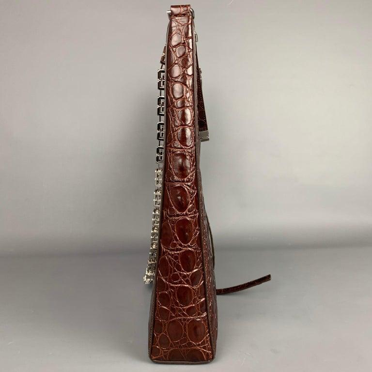 GIVENCHY Large Cut Out Bag Brown Embossed Croc Leather Shoulder Unisex Handbag For Sale 1