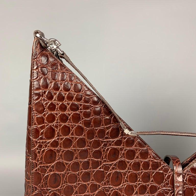 GIVENCHY Large Cut Out Bag Brown Embossed Croc Leather Shoulder Unisex Handbag For Sale 2