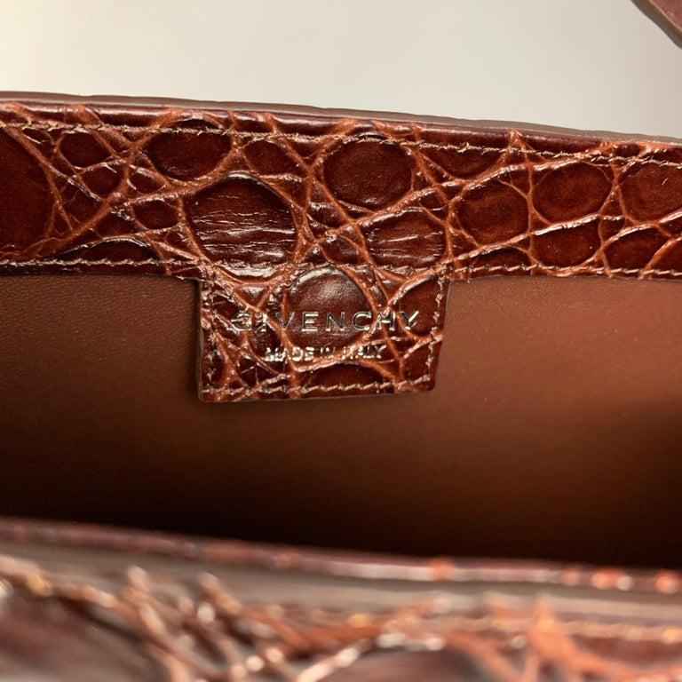 GIVENCHY Large Cut Out Bag Brown Embossed Croc Leather Shoulder Unisex Handbag For Sale 4