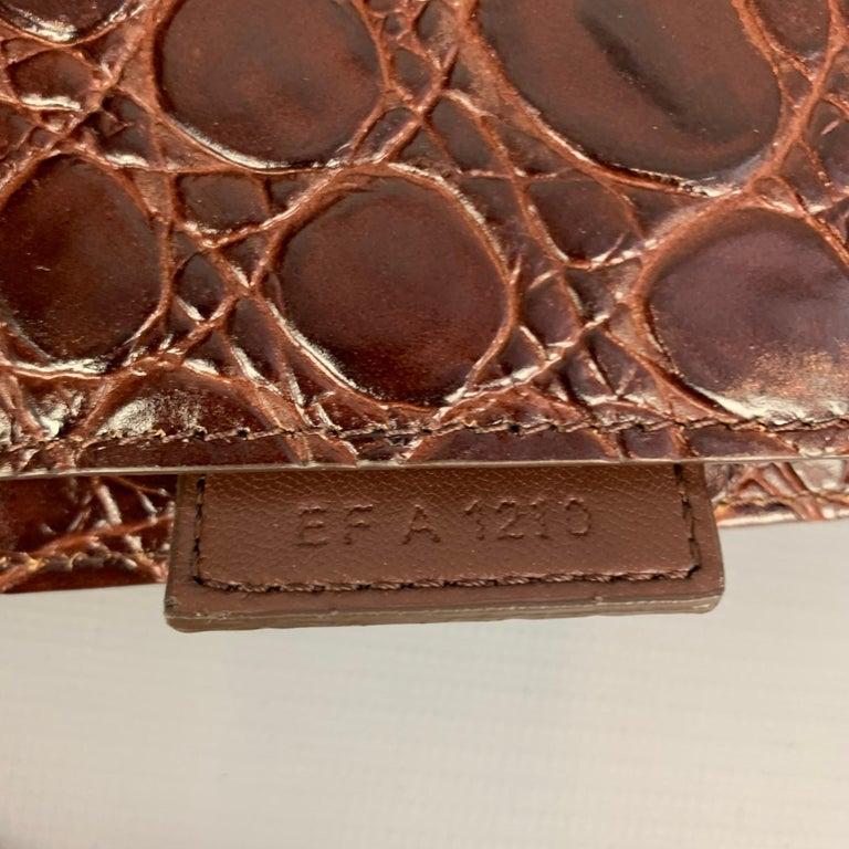 GIVENCHY Large Cut Out Bag Brown Embossed Croc Leather Shoulder Unisex Handbag For Sale 5