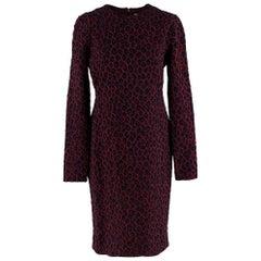 Givenchy Leopard Print Knit Burgundy Midi Dress L